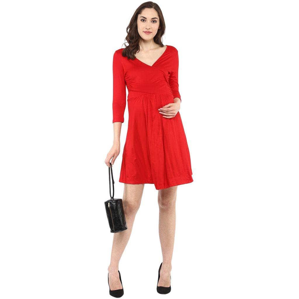 Red Front Cross Maternity & Nursing Dress