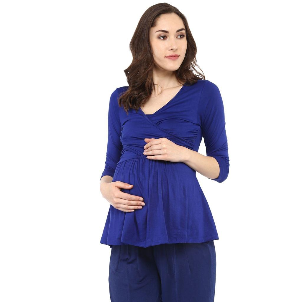 Royal Blue Nursing Front Cross Top