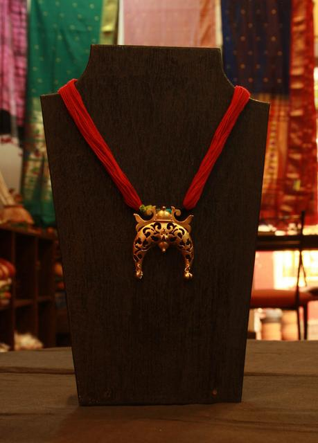 Horseshoe Pendant with Jhumkas