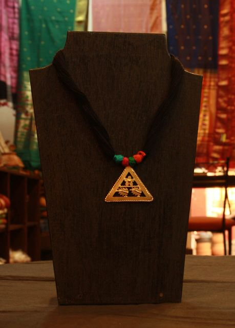 Triangle Pendant with Tribal Design