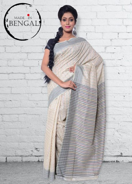 Monochrome Handcrafted Kantha on Batik Silk Saree