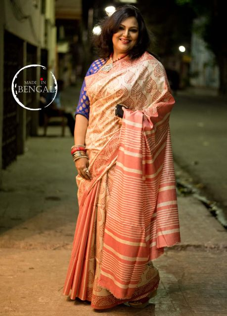 Handcrafted Block Printed Tussar Saree