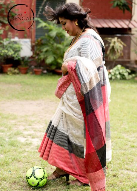 Red&White Handwoven Noil Saree