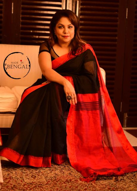 Red&Black Cotton Linen Saree
