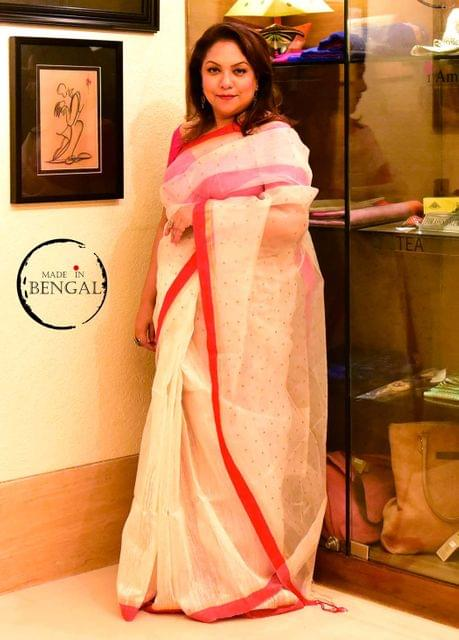Red&White Handwoven Tussar-Muslin Sequence Saree