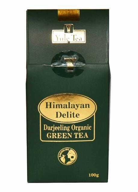 Yule Himalayan Delite Darjeeling Organic Green Tea Leaves Standy Box: 100gms