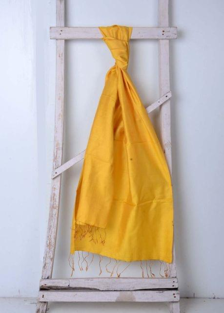 Yellow Ocher Handwoven Cotton Plain Stole