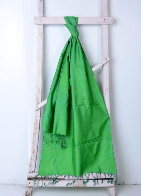 Green Handwoven Cotton Plain Stole