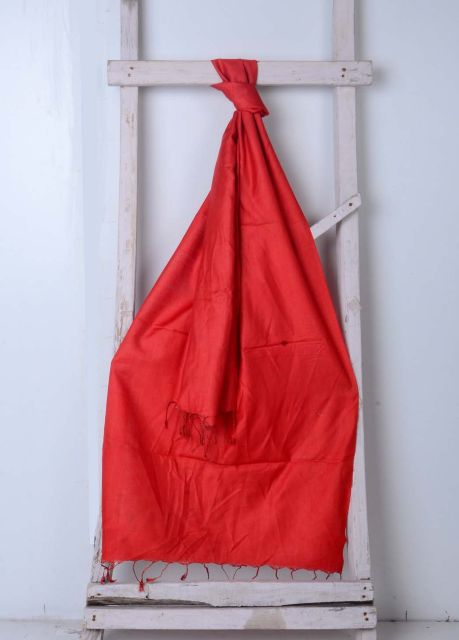 Red Handwoven Cotton Plain Stole
