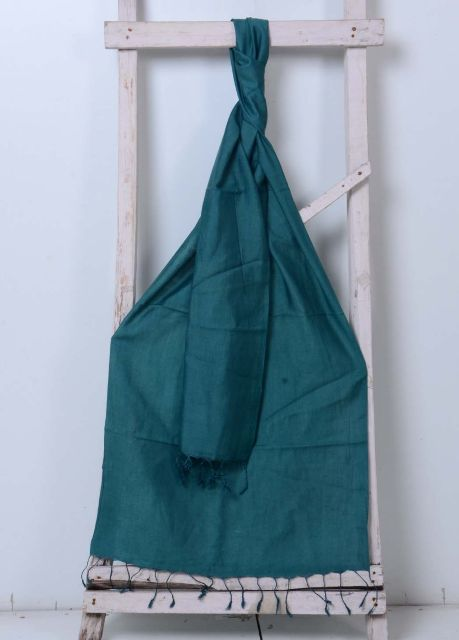 Teal Handwoven Cotton Plain Stole