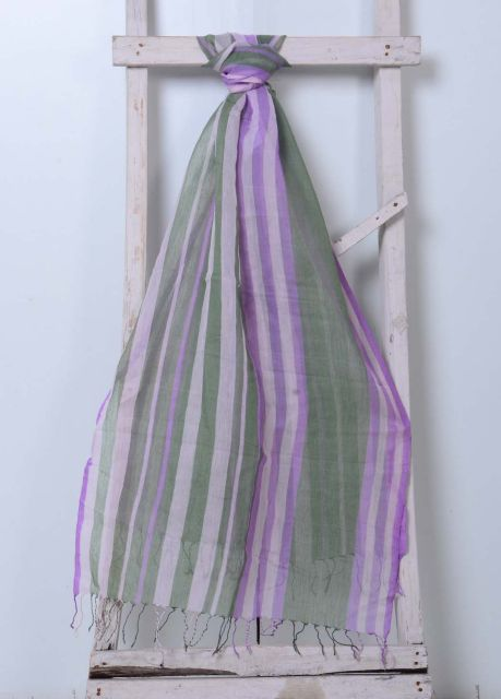 Striped Cotton Muslin Stole