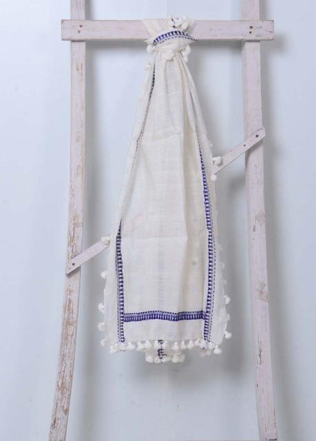 White&Blue Bordered CottonLinen Stole