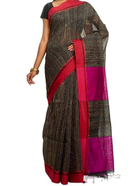 Black Cotton handwoven Saree with Running Kantha