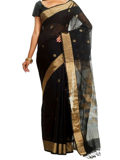 handwoven Polka Dotted Cotton Saree