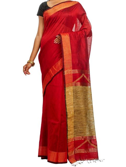 Handwoven Red Cotton Saree with Zari and Geecha