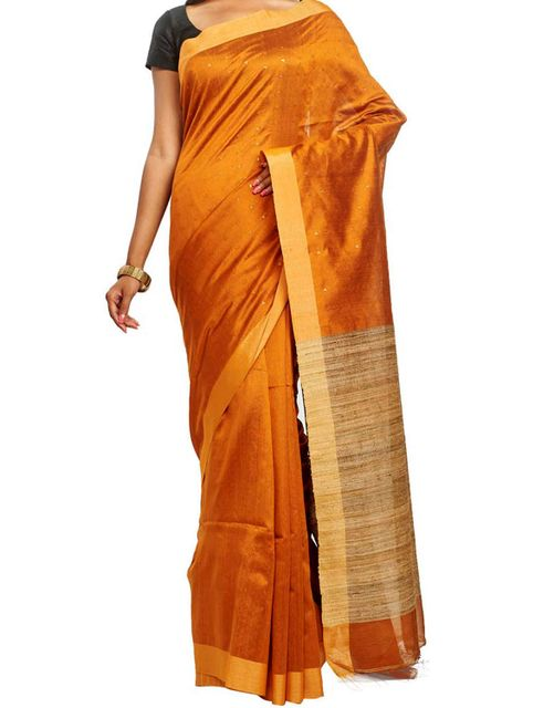 Handwoven Butis on Golden Cotton Saree with geecha