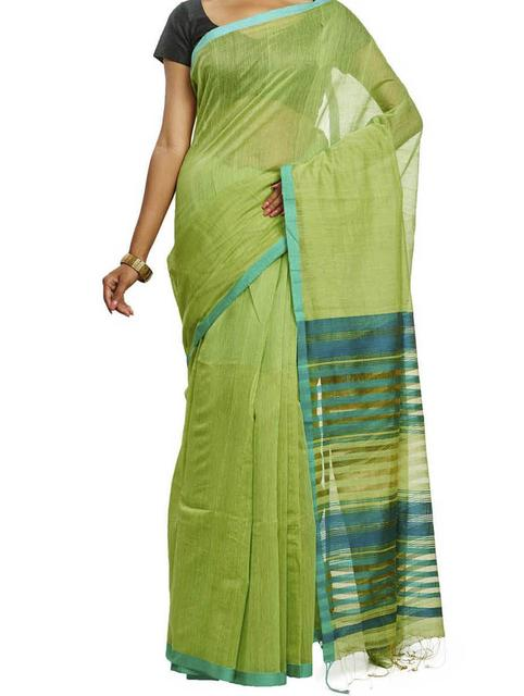 Lime and Green Cotton Handwoven Saree
