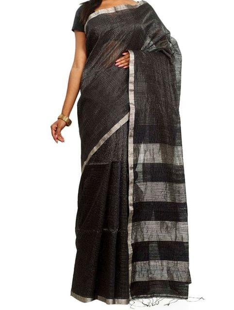 Silver Zari on Cotton Handwoven Saree