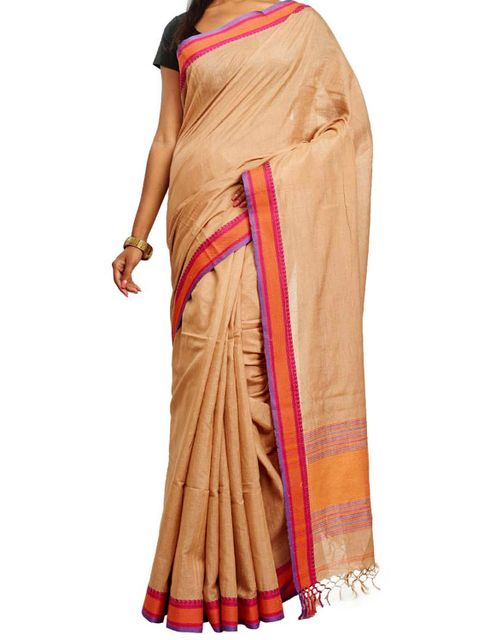 Beige Cotton Handloom Saree