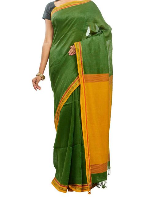 Moss Green Handwoven Cotton Saree