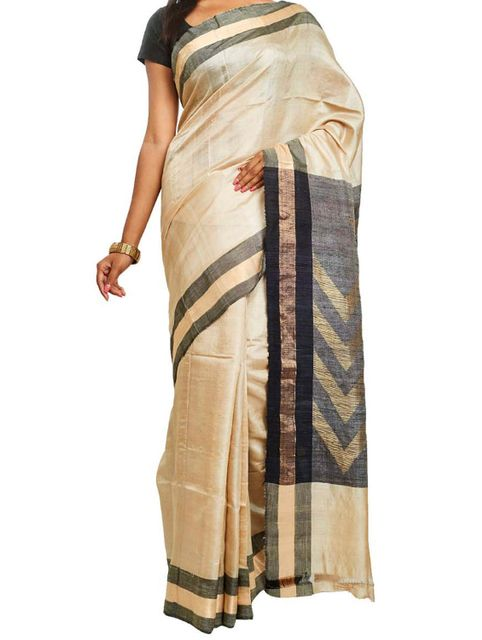 Tussar-Muga saree with Jamdani Anchal