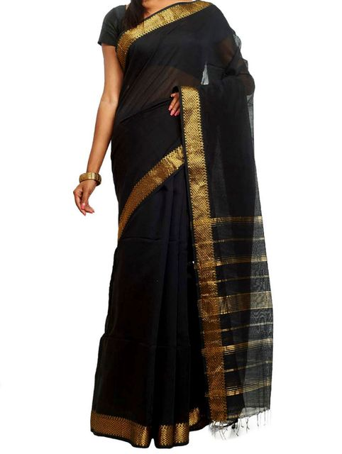 Black Cotton saree with Zari work