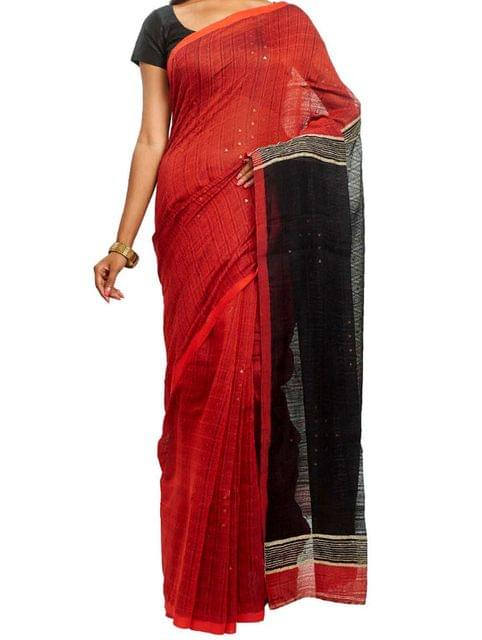 Black&Red Cotton Resham handwoven Saree with woven Butis