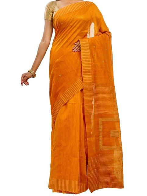 Yellow Ocher Handwoven Cotton Saree