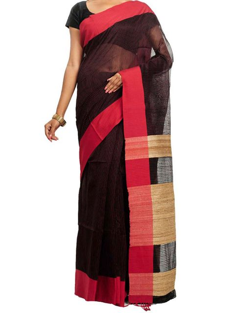 Red&Black Cotton Saree with Geecha Anchal