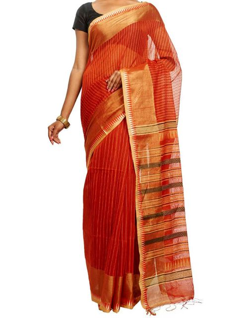 Orange Cotton saree with Kantha Stitched Stripes