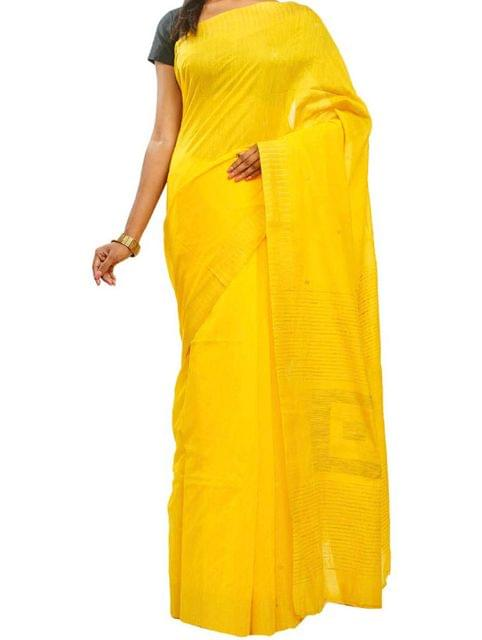 Yellow Handwoven Cotton saree with Butis