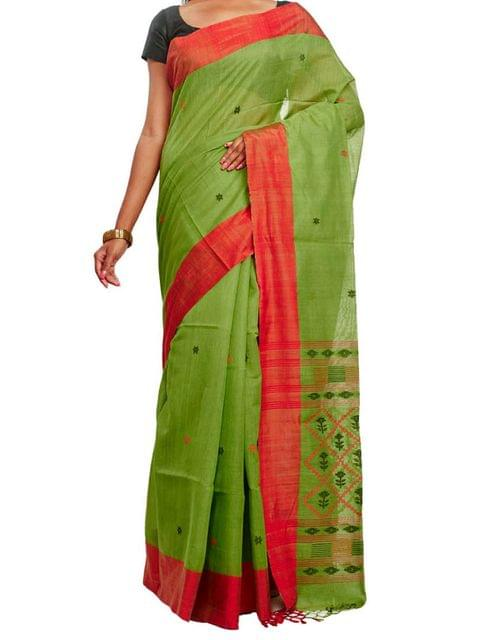 Green Dhakai Jamdani Cotton Saree