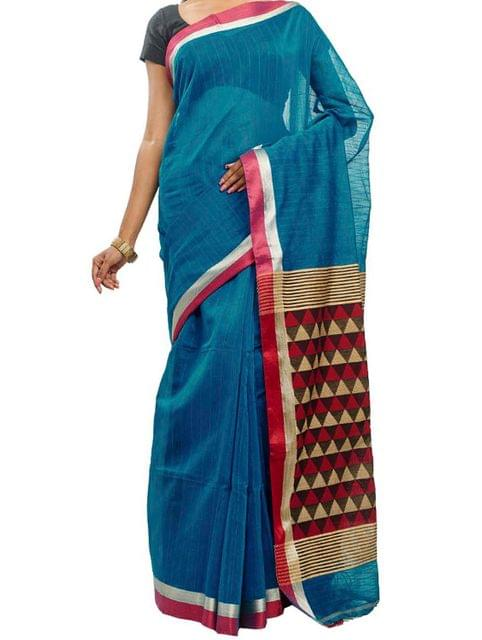Blue Handwoven Cotton Saree with Temple Anchal