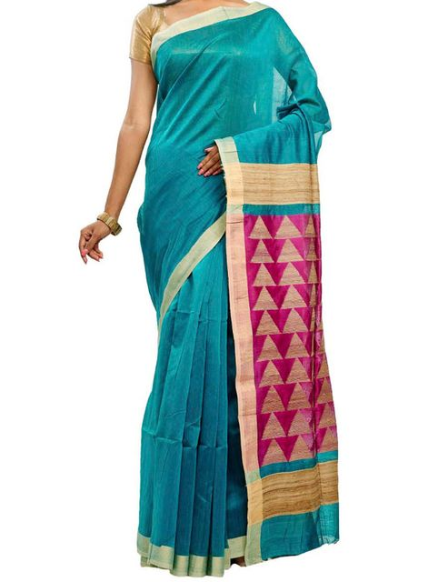 Dark Green Cotton Resham Saree