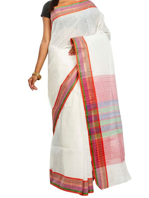 Self Striped Handwoven Cotton Saree