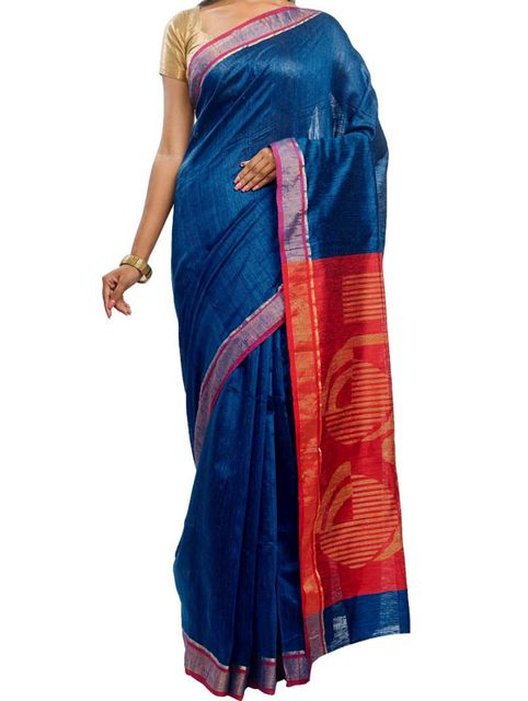 Royal Blue Tussar Saree with Zari