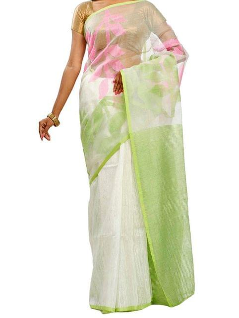 White Tussar saree with Jamdani Muslin Anchal