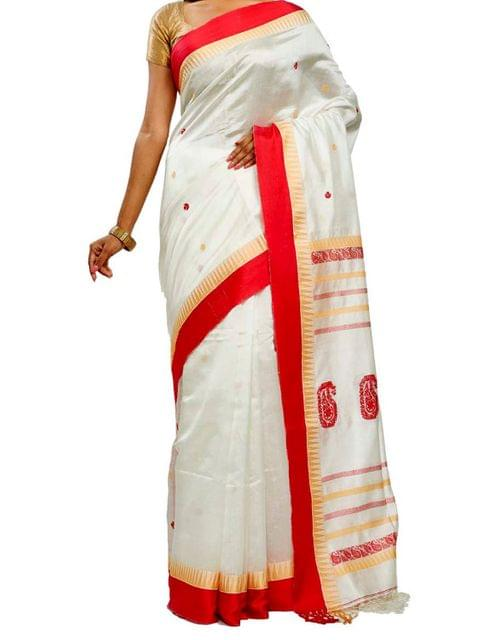 Red&White Pure Silk Saree
