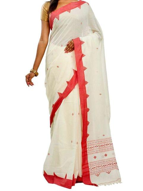 Red&White Soft Cotton Handwoven Saree