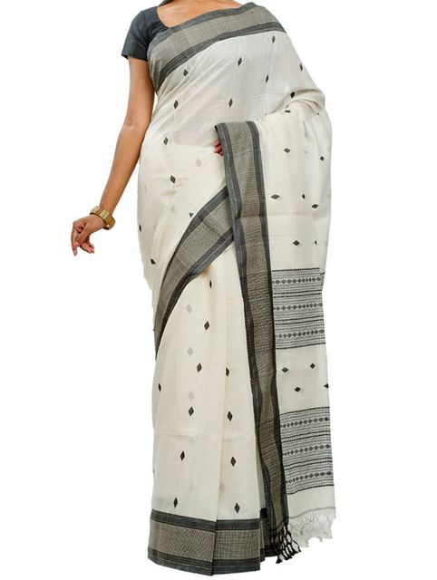 Monochrome Jamdani Silk Saree