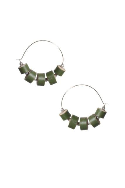 Handcrafted Green Quilled Leather earrings on Golden Ring