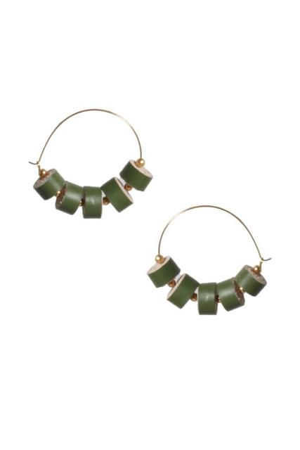 Handcrafted Green Quilled Leather earrings on Silver Ring