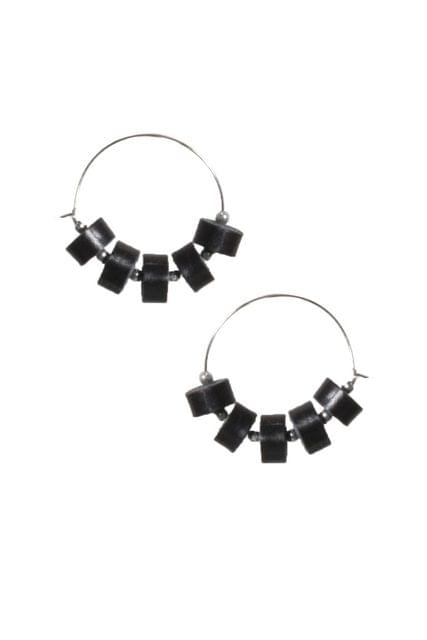 Handcrafted Black Quilled Leather earrings