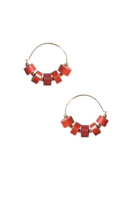 Handcrafted Quilled Leather earrings in Red&Pink