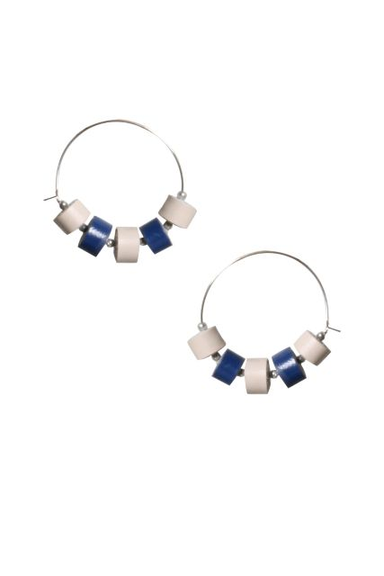 Handcrafted Quilled Leather earrings in White&Blue