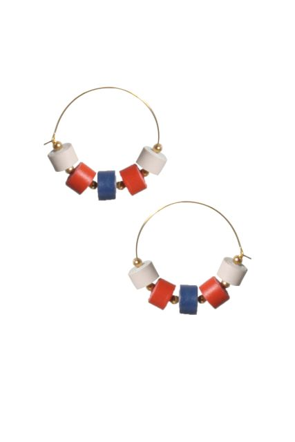 Handcrafted Quilled Leather earrings in White-Red-Blue