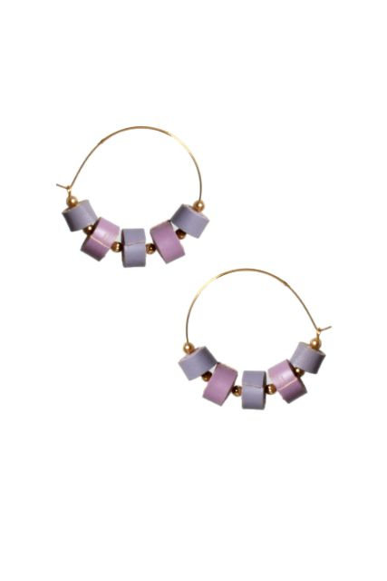 Handcrafted Quilled Leather earrings in Lilac&Lavender