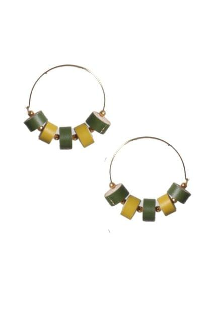 Handcrafted Quilled Leather earrings in Green&Yellow