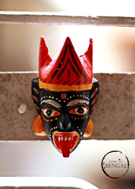 Miniature Wooden Mask Magnets : Mukha from Dinajpur