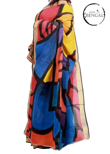 Bright Abstract Art Handpainted on Cotton Saree